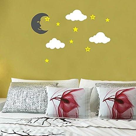 Amazon.com: Amaonm Giant Large Cartoon Vinyl Black Moon White Clouds ...