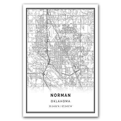 Squareious Norman map poster print | Modern black and white wall art | Scandinavian home decor | Oklahoma City prints artwork | Fine art posters 20x30 ()