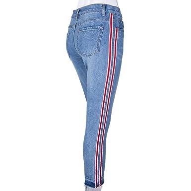 Cinnamou Jeans Skinny Push-Up Mujer Vaqueros, Rayas Cintura ...