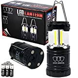 Gold Armour Brightest Camping Lantern (EMITS 350 LUMENS!) LED Lantern - Camping Equipment Gear Lights for Hiking, Emergencies, Hurricanes, Outages, Great Gift Set (2Pack Black with Magnetic Base)