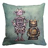 Zazzle Two Funny Kid's Steampunk Robots! Throw Pillow 20'' x 20''