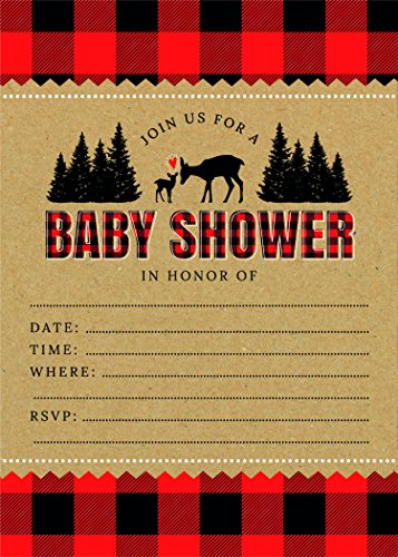 Woodland Rustic Lumberjack Flannel Deer 5x7 Baby Shower Invites (24 ct) with White Envelopes