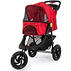 Fur Family 3-Wheels Deluxe Pet Stroller Dog Cat Foldable w/ Dual Cup Holder, Red