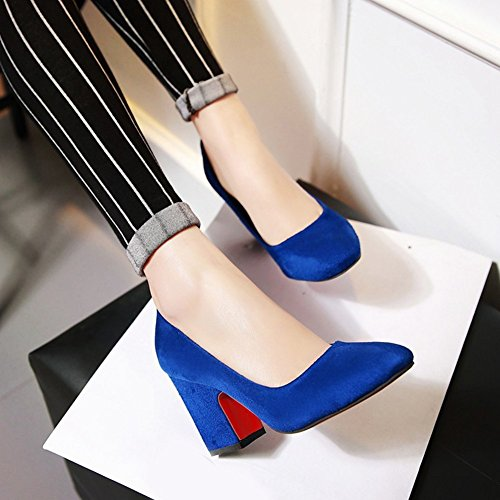 Für Business Blau Pumps Arbeit Blockabsatz Elegant Aisun High Low Heels Top Damen wzw6Px