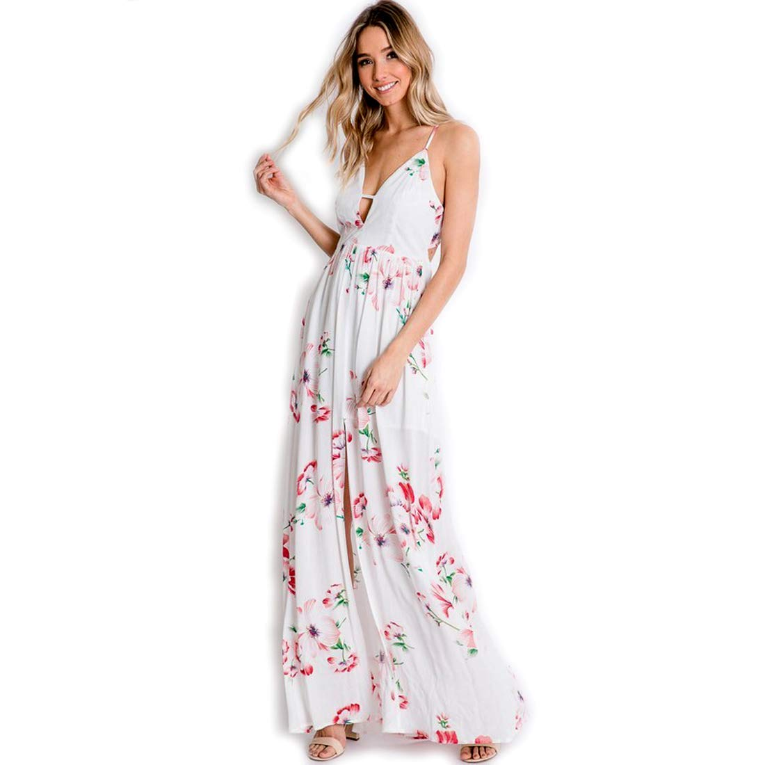 42a8ad9c0ca9c Davi & Dani Beautiul Floral Summer Maxi Dress in White with Pastel ...