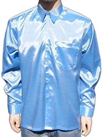 Luz azul camisa para hombre camisa casual camisa satén manga larga (XL), color Azul, talla XL: Amazon.es: Zapatos y complementos