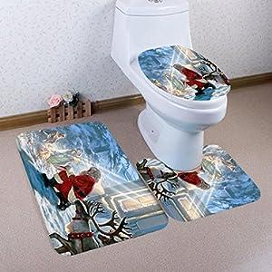 Hemlock 3PCs Toilet mats, Christmas Bathroom Non-Slip Pedestal Rug Lid Toilet Cover Bath Mat Set