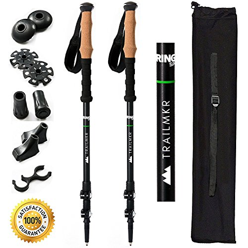 BRINGIT Strong Trekking Poles, Cork Grip Hiking Poles Collapsible, Lightweight, Quick Flip-Locks by BRINGIT