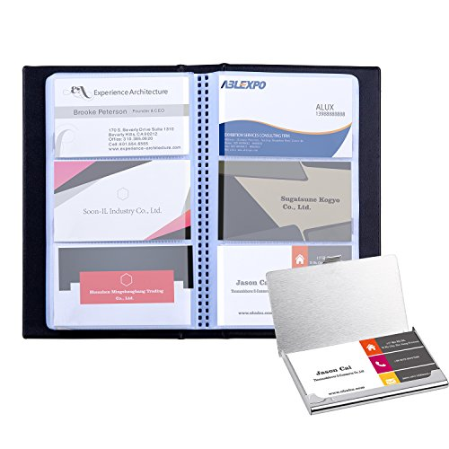 Ohuhu Business Card Holder and Business Card Book Holders, 2-IN-1 Set of Journal Business Card Organizer and Stainless Steel Pocket Card Case