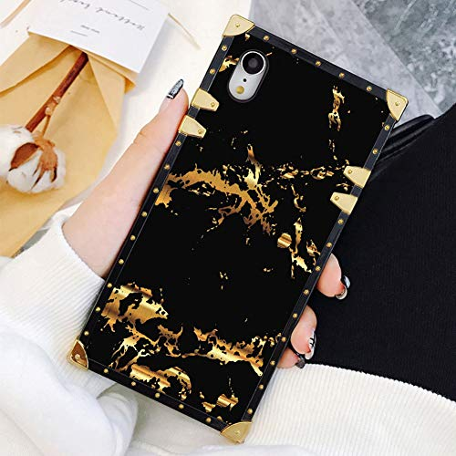 Square Case Compatible iPhone XR Gold Black Marble Luxury Elegant Soft TPU Shockproof Protective Metal Decoration Corner Back Cover Case iPhone XR Case 6.1 Inch