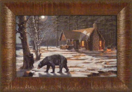 - Sweet Curiosity by Mary Pettis 11x15 Bear Cub Syrup Log Cabin Moon Framed Art Print Wall Décor Picture