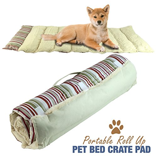 Portable Dog Bed Roll Up Pet Mat Crate Pad - Travel, Camping, Carrier Cushion - 36