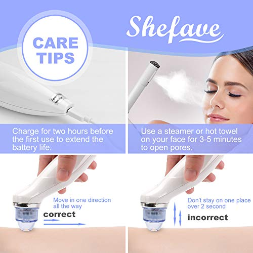 Shefave Blackhead Remover Vacuum, USB Rechargeable Comedo Suction Microdermabrasion Machine Blu Ray Pore VacuumCleaner, Blackhead Sucker with 5 Replaceable Suction Heads (Standard)