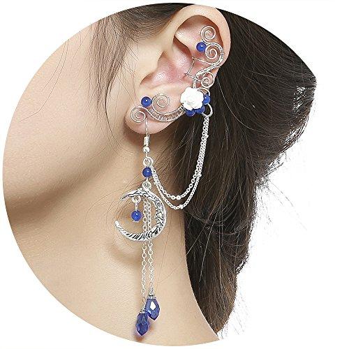 Aifeer Elven Elf Ear Cuffs,Handcraft Pierced Filigree Wrap Earrings Ear Cuffs for Women Bridal Wedding Flower Moon Jewelry Dangle Drop Threader Tassel Chain (Blue)