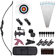 55'' Archery Recurve Bow and Arrow Set Takedown Training Longbow for Outdoor Competition Shooting Game