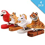 Set of 4 Handmade Wood Animal Squirrel Parrot Tiger Unicorn Pattern Mini Desktop Stapler