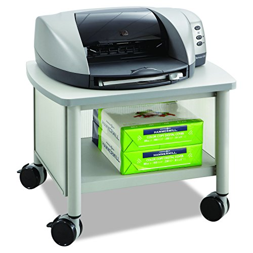 (Safco Products Impromptu Under Desk Printer Stand 1862GR, Gray, 50 lbs. Capacity, Contemporary Design, Swivel Wheels)