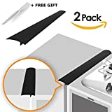oven gap filler - Linda's Silicone Kitchen Stove Counter Gap Cover Long & Wide Gap Filler (2 Pack) Seals Spills Between Counters, Stovetops, Washing Machines, Oven, Washer, Dryer | Heat-Resistant and Easy Clean (Black)