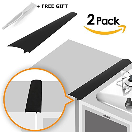 Linda's Silicone Kitchen Stove Counter Gap Cover Long & Wide Gap Filler (2 Pack) Seals Spills Between Counters, Stovetops, Washing Machines, Oven, Washer, Dryer | Heat-Resistant and Easy Clean (Black)
