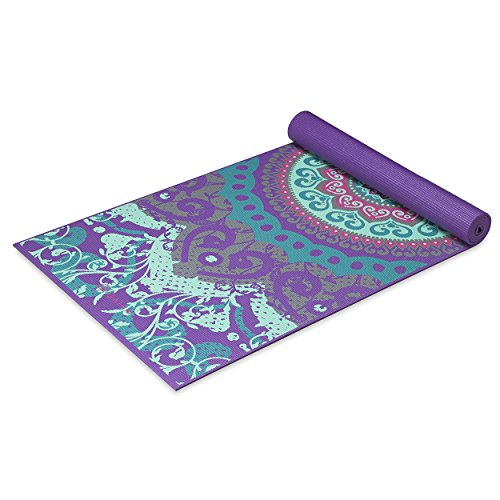 Gaiam Yoga Mat Classic Print Non Slip Exercise & Fitness Mat for All Types of Yoga, Pilates & Floor Exercises, Moroccan Garden, 3/4mm