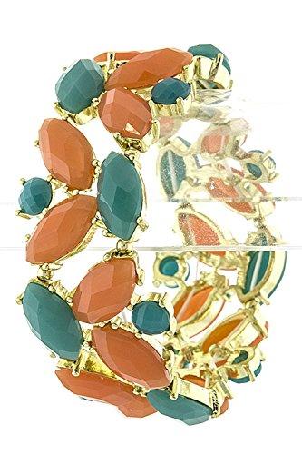 THE JEWEL RACK OVAL BEADED CLUSTER BRACELET (ORANGE/TURQUOISE) (Lois Hill Oval Bracelet)