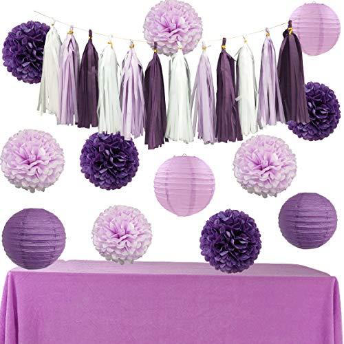 InBy Purple White Tissue Paper Pom Pom and Lantern Tassel Garland Party Decoration Kit for Bridal Shower Baby Shower Bachelorette Wedding Birthday Graduation Supplies