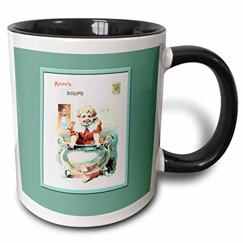 3dRose BLN Vintage Trade Cards Featuring Children - Kopfs Soups Little Child in a Soup Tureen - 15oz Two-Tone Black Mug (mug_169586_9) ()