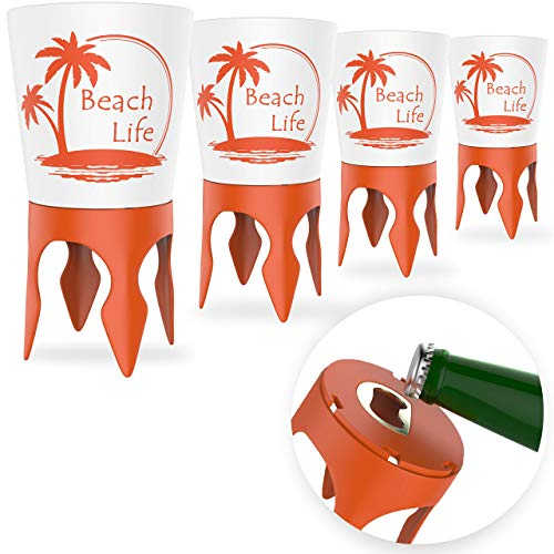 (Beach Vacation Accessories: Beach Drink Cup Holder Sand with Bottle Opener and Spikes (4 Pack) | Spike Coaster Cups - Supplies Gear Essentials Stuff Items Necessities Must Haves for Adults Women Men)
