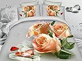 Newrara Home Textile,peach Blossom Print Bedding,3d Peach Blossom Flower Bedding Set,queen,4pcs, Comforter Not Include