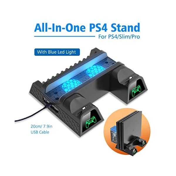 OIVO Cooling Fan Compatible with Regular PS4/ PS4 Pro/ PS4 Slim, Controller Charging Dock Station with Cooler Vertical… 7