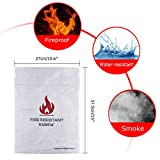 """Kuuqa 5"""" X 10.6"""" Large Size Fire Resistant Document Bag Fire Proof Bag for Cash, Passports, Photos, Valuables and Jewelry Protection"""
