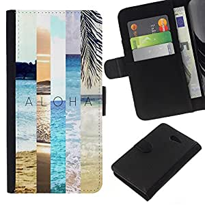 KingStore / Leather Etui en cuir / Sony Xperia M2 / Nature Teal Peach Sun