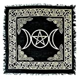 """Black and Gold Triple Moon with Pentacle Altar Cloth Tarot Cloth 18"""" X 18"""""""