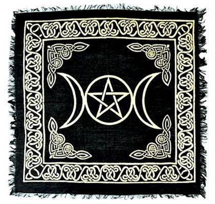 Moon Pentacle Stone (BLACK & GOLD Triple Moon with Pentacle Altar Cloth Tarot Cloth 18