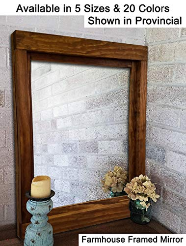 Farmhouse Large Framed Mirror Available in 6 Sizes and 20 Stain Colors: Shown in Provincial  Large Wall Mirror – Rustic Style Home Decor  Housewares  Woodwork