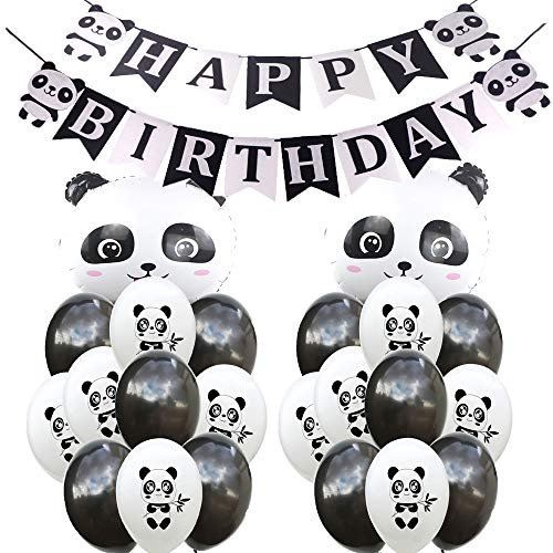 SFSL Panda Birthday Decorations Party Supplies,Panda Birthday Mylar Balloon,Panda Latex Balloon,Panda Happy Birthday Banner Great for Kids Panda Bear Birthday Decorations,Photo Props ()