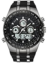 Men's Decent Sports Watches Multifunction Big Face Military Wrist Watch in Black Silicone Band