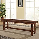 Walker Edison Furniture Wood Bench, Dark Oak