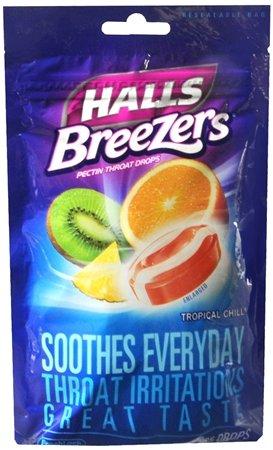 Drops Fruit Breezers Throat Halls - Halls Cough Drops Breezers Tropical Chill 25 Ct (pack of 6)