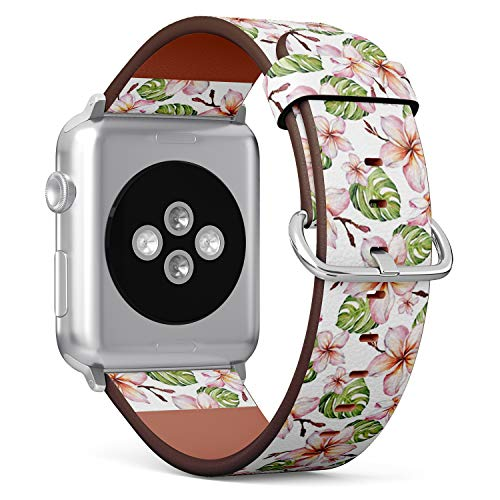 Compatible with Apple Watch Serie 4/3/2/1 (Small Version 38/40 mm) Leather Wristband Bracelet Replacement Accessory Band + Adapters - Exotic Plumeria Flowers Green - Plumeria Clasp