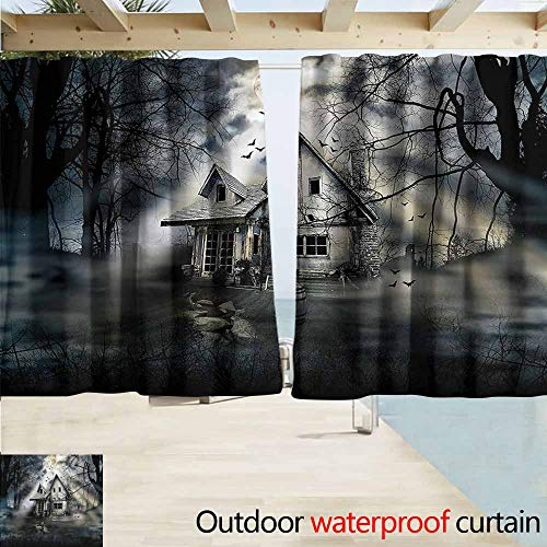 MaryMunger Rod Pocket Blackout Curtain Panels Halloween Haunted House Dark Horror Outdoor Privacy Porch Curtains W72x45L -