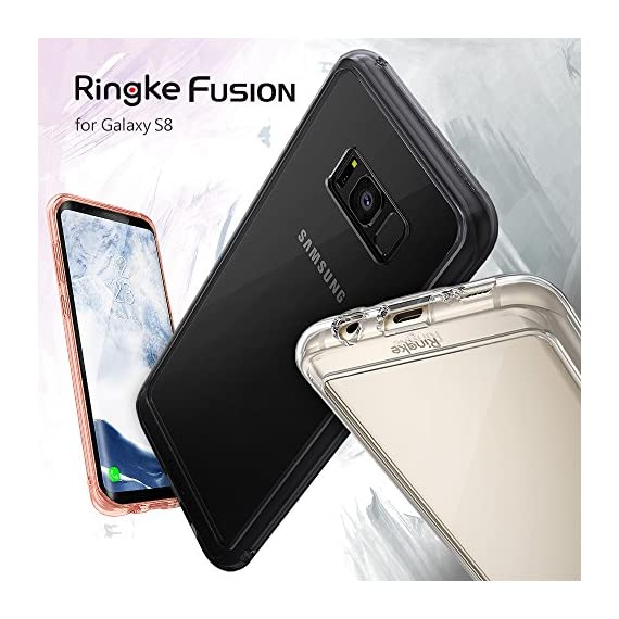 Ringke Fusion for Samsung Galaxy S8 2017 8 Supports Qi Wireless Charging without the hassle of having to remove the case for Samsung Galaxy S8. Crystal clear protection with advanced 2X tough coating enhances the original look with minimal bulk. Dual active coverage includes inner corner cushions to protect from drops while offering ultimate slimness. Ringke FUSION offers MIL-STD 810G - 516.6 Certified Military Grade Drop Protection in a slim and sleek profile. Slim transparent TPU bumper with Active Touch Technology allows easy and natural access to all vital ports and buttons. Soft flexible premium edges cover all four corners with guards and tapered lips to lift off flat surfaces for raised bezel protection against daily use scratches.