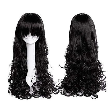 31.5 quot (80cm) Pelucas Negras Mujer Pelo Natural con Flequillo Largas  Rizadas Peluca Sintética 6c0024a3ab8e