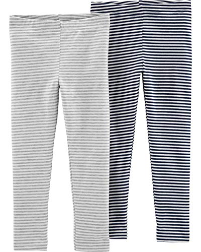 (Carter's Girls' Baby, Toddler, Kids, 2 Pack Cotton Leggings, Grey/Navy Stripes, 12M)