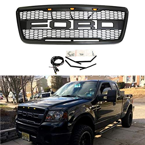 04-2008 FORD F150 Raptor Style Grill Kits With Amber LED Light and Conversion Letter (Black) ()