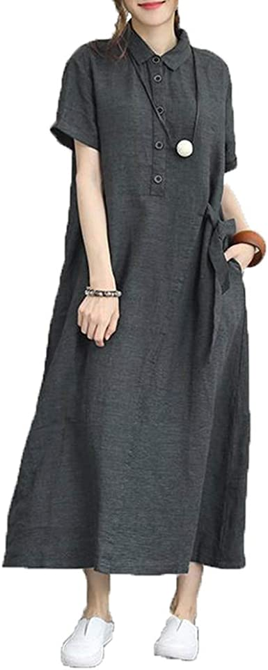Vestido De Camisa De Manga Corta con Cuello CaíDo para Mujer ...
