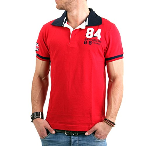 BIAGGIO Herren Kurzarm Poloshirt Balouros Red 005