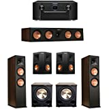 Klipsch 5.2 Walnut System with 2 RP-280F, 1 RP-450C Center Speaker, 2 Klipsch RP-250S Ebony Surround Speakers, 2 BIC/Acoustech Platinum Series PL-200 II Subwoofer, 1 Marantz SR7011 A/V Receiver