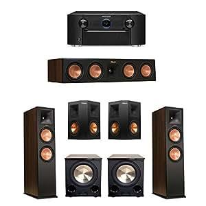 Klipsch 5.2 Walnut System with 2 RP-280F, 1 RP-450C Center Speaker, 2 Klipsch RP-250S Ebony Surround Speakers, 2 BIC/Acoustech Platinum Series PL-200 II Subwoofer, 1 Marantz SR7011 A/V Receiver