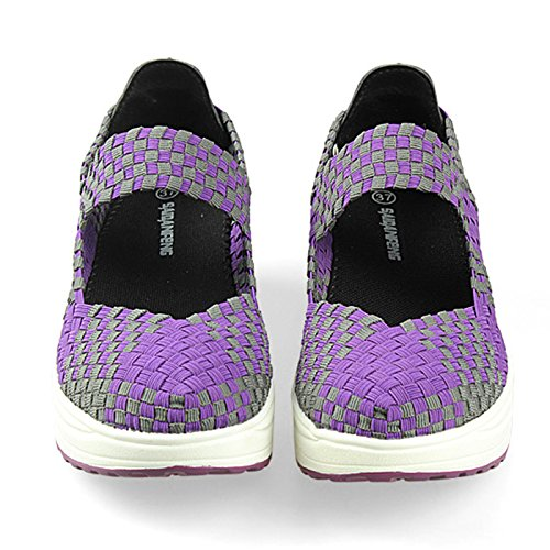 VECJUNIA Ladies Woven Lightweight Elastic Toning Shoes Casual Comfort Slip On Sport Water Shoes Purple C5exDWdD1